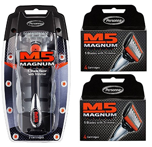 Personna M5 Magnum 5 Razor with Trimmer + M5 Magnum 5 Refill Razor Blade Cartridges, 4 ct. (Pack of 2) + FREE Luxury Luffa Loofah Bath Sponge On A Rope, Color May Vary by Personna