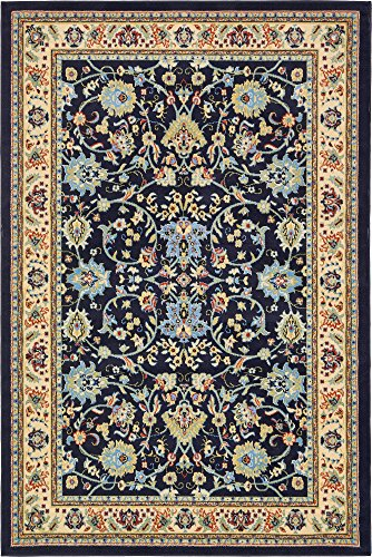 Blue Rug Garden - A2Z Rug 6-Feet-by-9-Feet Covent Garden Persian Traditional Design Rug, Navy Blue