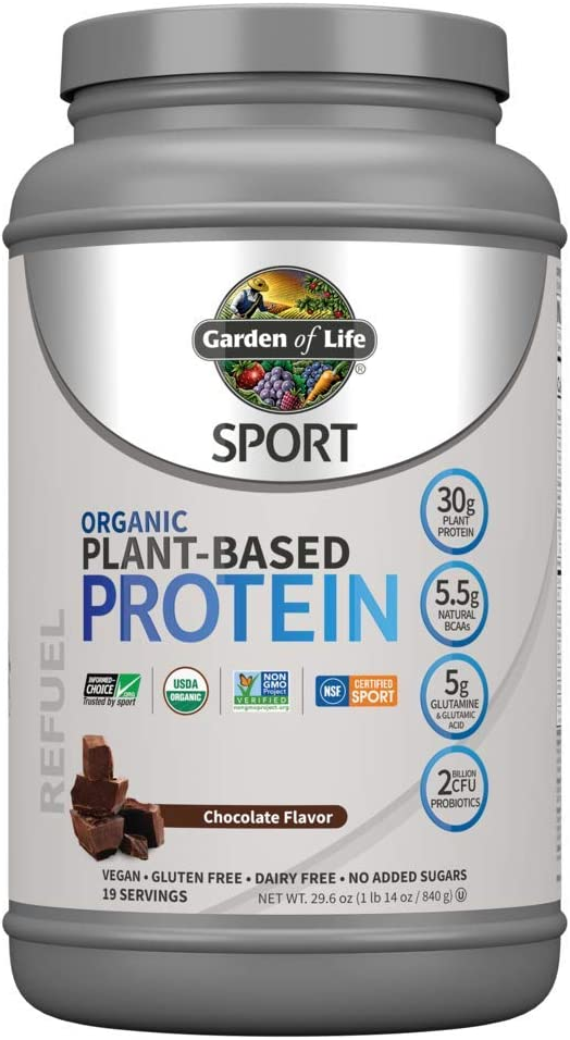 Garden of Life Sport Organic Plant Based Protein Powder Chocolate, 30g Protein Per Serving, Premium Vegan Protein Powder For Women & Men, Plant Bcaa Powder, Recovery Blend & Probiotics, 19 Servings