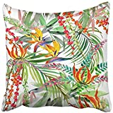 Throw Pillow Cover Square 18x18 Inches Colorful Beach Tropical Plant Watercolor Exotic Nature Green Floral Flower Forest Hawaii Hawaiian Polyester Decor Hidden Zipper Print On Pillowcases