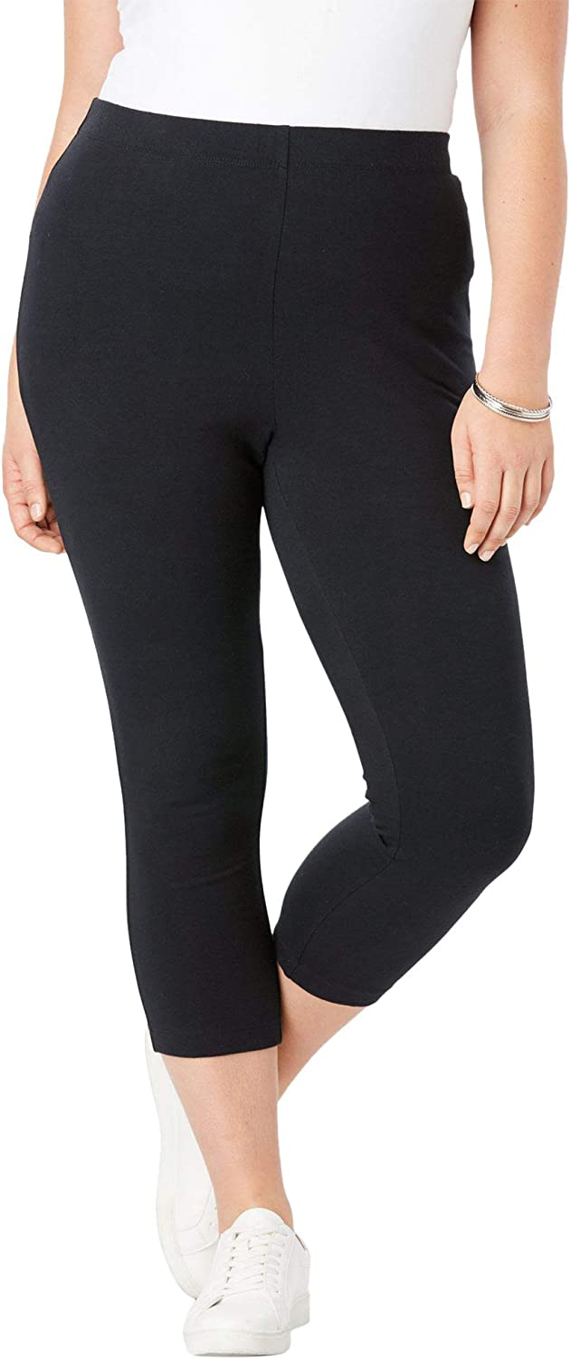 Roamans Womens Plus Size Essential Stretch Capri Legging