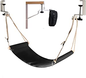 Elelink Portable Adjustable Mini Office Foot Rest/Foot Stool Stand Desk Foot Hammock with Headphones Holder, Footrest with Upgraded Screw In Rubber Clamps Suitable for All Desk Types(Black)