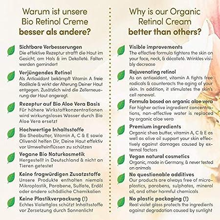 Crema Facial de Retinol ORGÁNICO Lifting 100ml - Sistema 3% Retinol de Liberación Sostenida + Acido Hialurónico Puro - Crema Antiarrugas Mujer - Vegano - Crema Hidratante hecha en Alemania