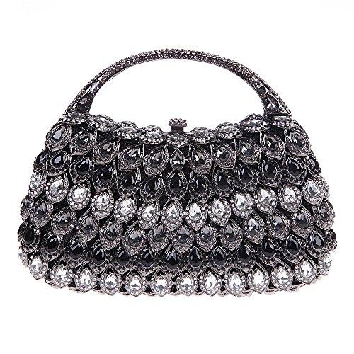 Fawziya Clutch Purse With Handle Crystal Rhinestone Clutch Evening Bag-Black
