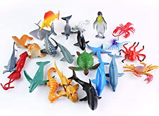 Realistic Ocean Animal Figures Toys sea Animal Life Figures For Educational Animal Learning Bath Toys Garden decoration Cake Topper Kids Gift Pack Of 24