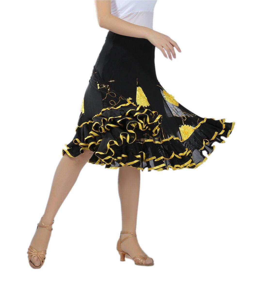 CISMARK Micro Fiber Long Swing Ballroom Latin Dance Skirt One Size Yellow by CISMARK