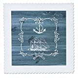 3dRose Russ Billington Nautical Designs - White Ship Anchor and Rope on Blue Weatherboard- Not Real Wood - 18x18 inch quilt square (qs_261836_7)