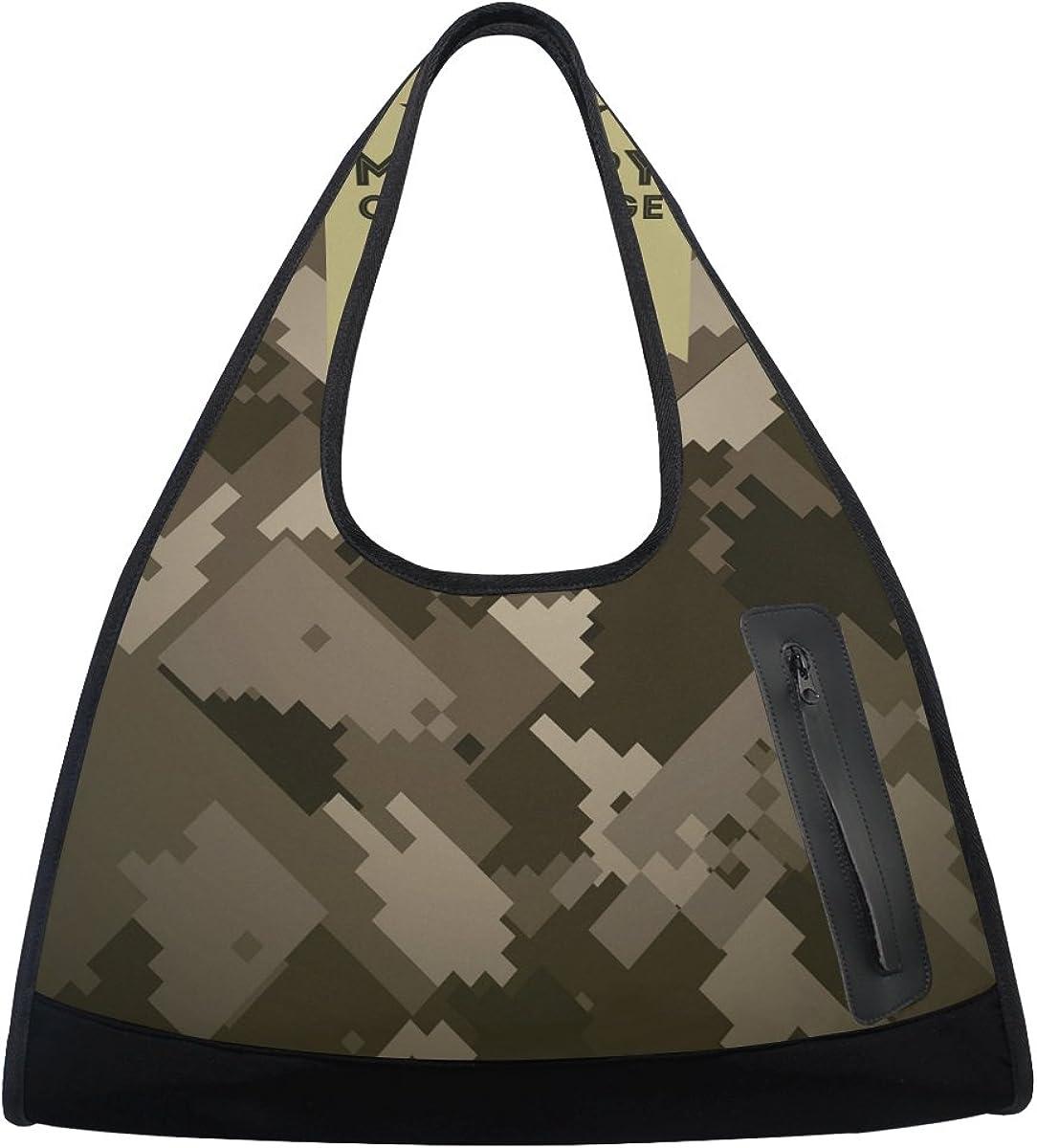 Gym Bag Sports Holdall Mosaic Camouflage Canvas Shoulder Bag Overnight Travel Bag for Men and Women