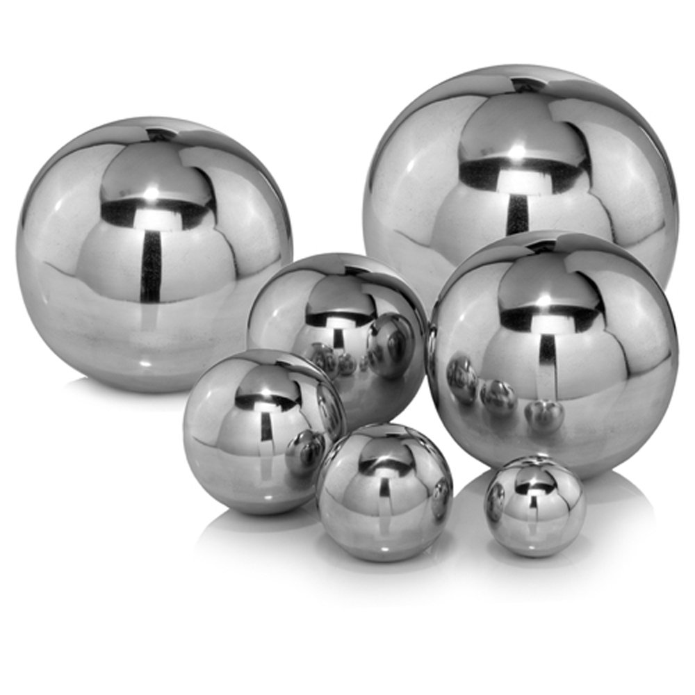 Modern Day Accents Sphere/12 D Bola Polished, Aluminum, Filler, Tabletop, Modern, Buffed, Circle, Home, Office, Sphere, 12'' Diameter, Silver