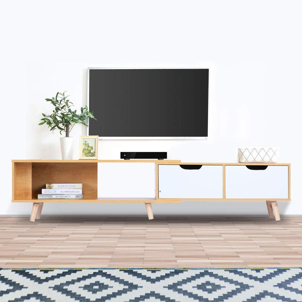 Verstellbar TV Lowboard Fernsehtisch mit 2 Schubladen Massivem Holz Tischbeine Modernes Design TV Tische f/ür Wohnzimmer Schlafzimmer 30 x 37 x 138-170 cm Ahorn Wei/ß Fernsehschrank TV Schrank Holz