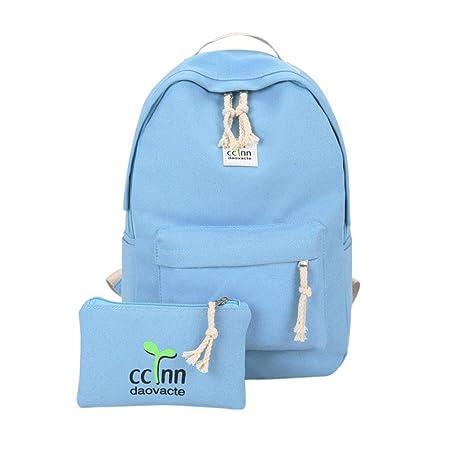 Toamen Mochilas Para NiñOs Mochilas Para NiñAs Bolsa Para Escuela Mochila De Lona Satchel Travel (Azul): Amazon.es: Ropa y accesorios