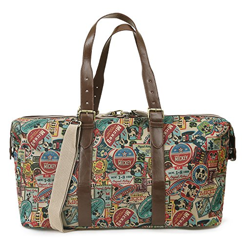 Travel Disney Brown Vintage Mickey Mouse Boston ililily Duffle Weekender Pattern Bag a0vSwdx