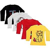 IndiWeaves Girls Cotton Full Sleeves Printed T-Shirt (Pack of 4)