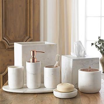 Marble Bathroom Accessories Sets. Amazon Com 4 Piece Bath Accessory Set By Kassatex Pietra Marble Bath Accessories Lotion Dispenser Toothbrush Holder Tumbler Soap Dish Calacatta