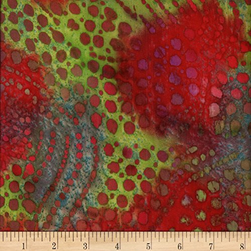 Textile Creations Hudson Bay Challis Floral Red/Purple/Brown Batik Fabric by The Yard