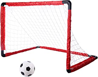 Winni43Julian Set Porta Calcio per Bambini Set da 1 Calcio Pop-up con 1 Rete e Calcetto Pallone 64*47*47cm