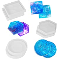 SunBeter 6 Pack DIY Coaster Silicone Mould Epoxy Casting Molds, Include Round, Square, Hexagon for Casting with Resin, Concrete, Cement, Home Decoration.