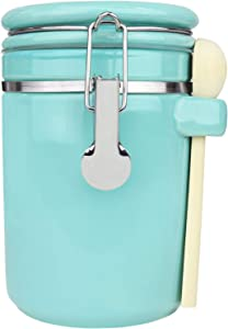 Blue Donuts 40 Oz Ceramic Airtight Jar, Ceramic Airtight Food Storage Containers, Ceramic Kitchen Canisters, 1182 ML Airtight Jar, Flour Jar with Lid, Food Storage Containers for Pantry, Turquoise