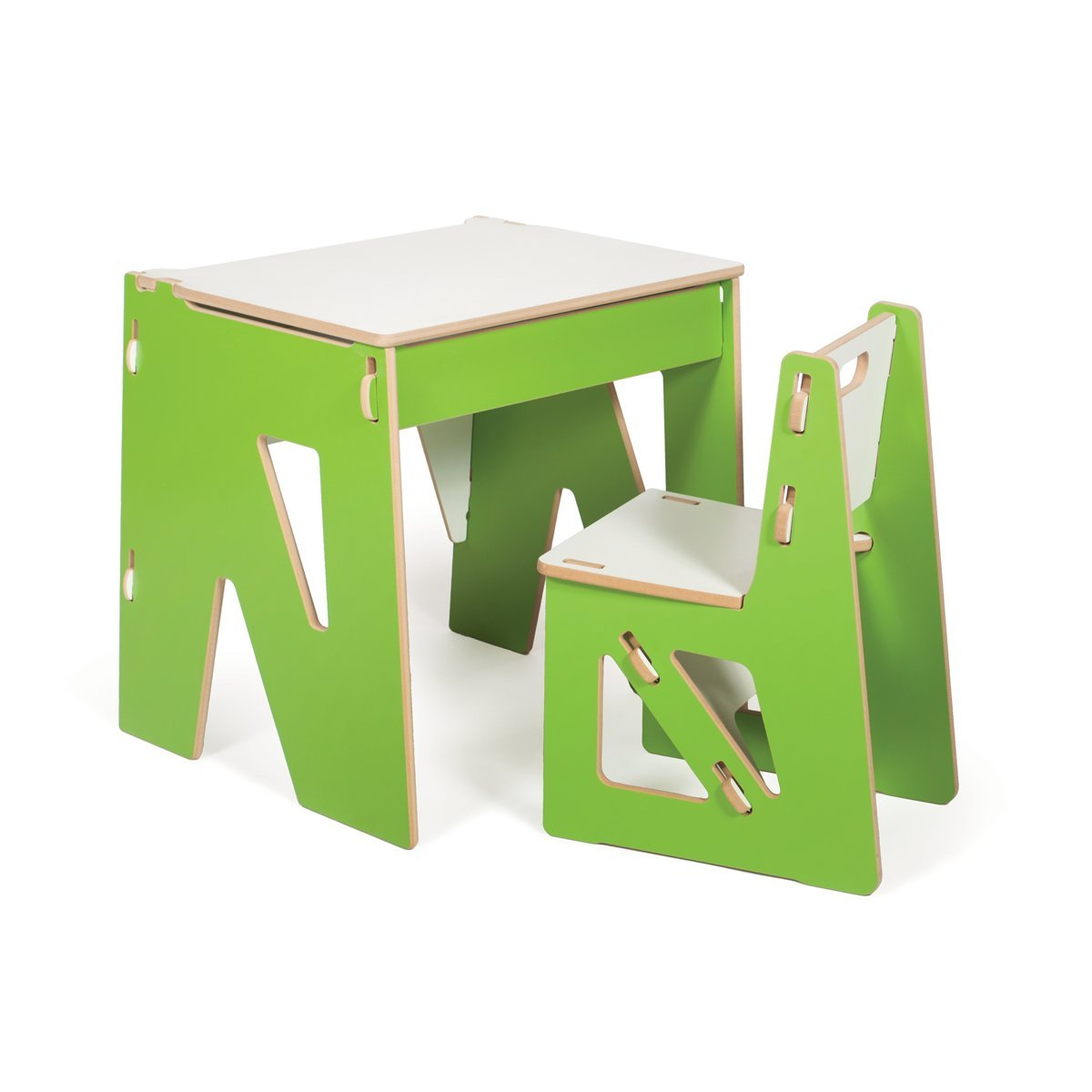 Modern Kids Desk and Chair with Storage, Green, American Made