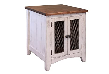 Greenview White Solid Pine Wood End Table, Two Mesh Doors