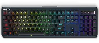 Fnatic STREAK Teclado mecánico para juegos Esports (interruptores Cherry MX Silent rojo, iluminación RGB multicolor, reposamuñecas ergonómico, ...