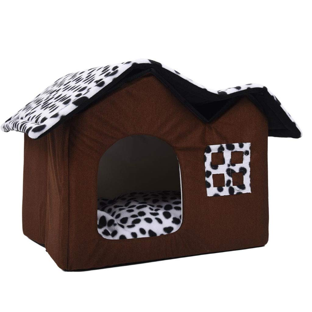 Brown 55cm Brown 55cm Pet House Double Dog Room Brown Dog Bed Double Pet House Soft Warm Dog House 55 X 40 X 42 Cm Pet Supplies (color   Brown, Size   55cm)