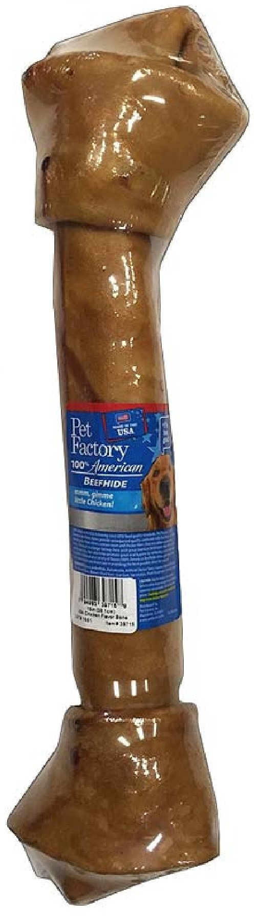 Pet Factory 39715 100% American Beefhide Chicken Flavored 15'' Rawhide Bone for Dogs. Made in USA