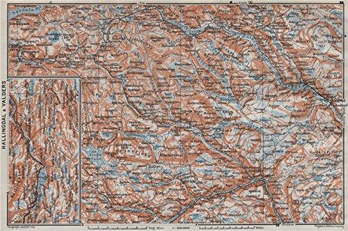 Amazoncom HALLINGDAL VALDRES Hemsedal Fagernes Aurdal Topo - Norway valdres map