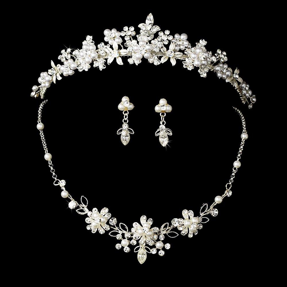 Yasmeen Swarovski Crystal Bridal Tiara Set