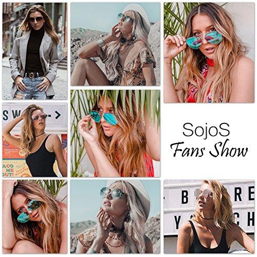 SOJOS Aviator Sunglasses Mirrored Flat Lens for Men Women UV400 SJ1083 C3 Gold Frame/Pink Mirrored Lens