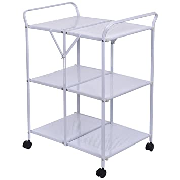 Giantex 3 Tiers Folding Steel Kitchen Trolley Dining Serving Island Cart  Rolling White