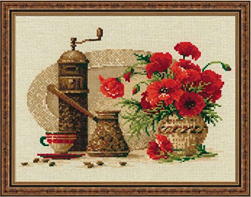 "RIOLIS Coffee Counted Cross Stitch Kit-11.75""X9.5"" 14 Count"