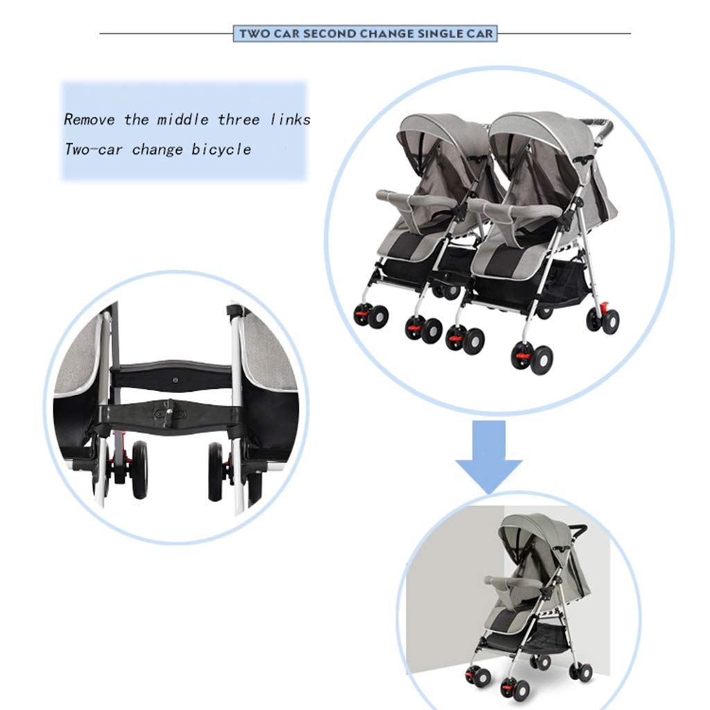 OCYE Stand-On Tandem Stroller/Standing/Sitting Double Stroller/Double Jogger, Lightweight Three-Speed Adjustable Awning Oversized Storage Basket Pedal, Gray by OCYE (Image #3)