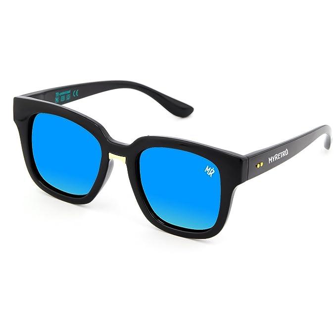 Gafas de sol polarizadas MYRETRO - mod. TRIOMPHE - hombre mujer OLD SCHOOL fashion vintage CULT - NEGRO/Azul: Amazon.es: Ropa y accesorios