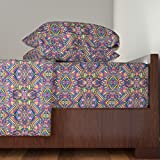 Roostery Aztec 3pc Sheet Set Aztec Mirror Neon by Chulabird Twin Sheet Set made with