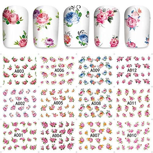 12 sets Pastel pink rose buds tulips flower petals floral boutiques NAIL DECALS pastel green botanical garden crystal star cosmic star flower cosplay nail WRAPS nail tattoo design nail wraps USO TATAU ()