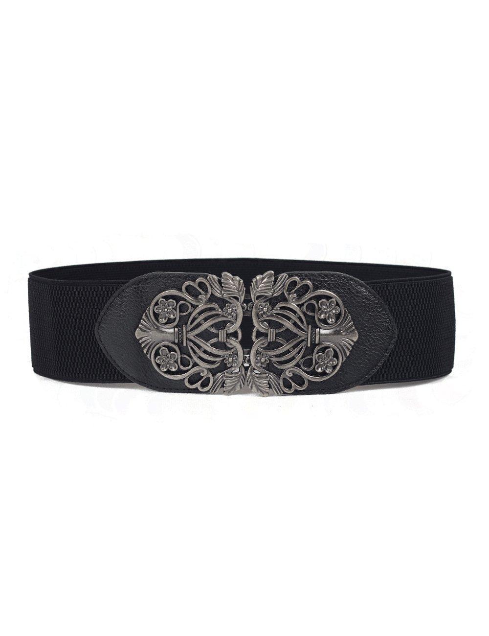Chicwe Women's Vintage Plus Size Waist Belt Elastic Stretch Silver 110 CM C17B010B02
