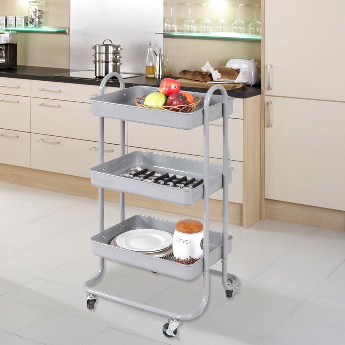Amazon.com - Giantex 3-Tier Rolling Kitchen Trolley Cart Portable ...