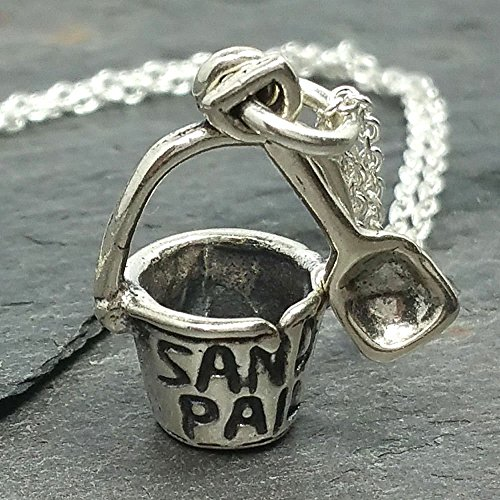 Sand Pail Bucket Shovel Necklace - 925 Sterling - Silver Florida Sands