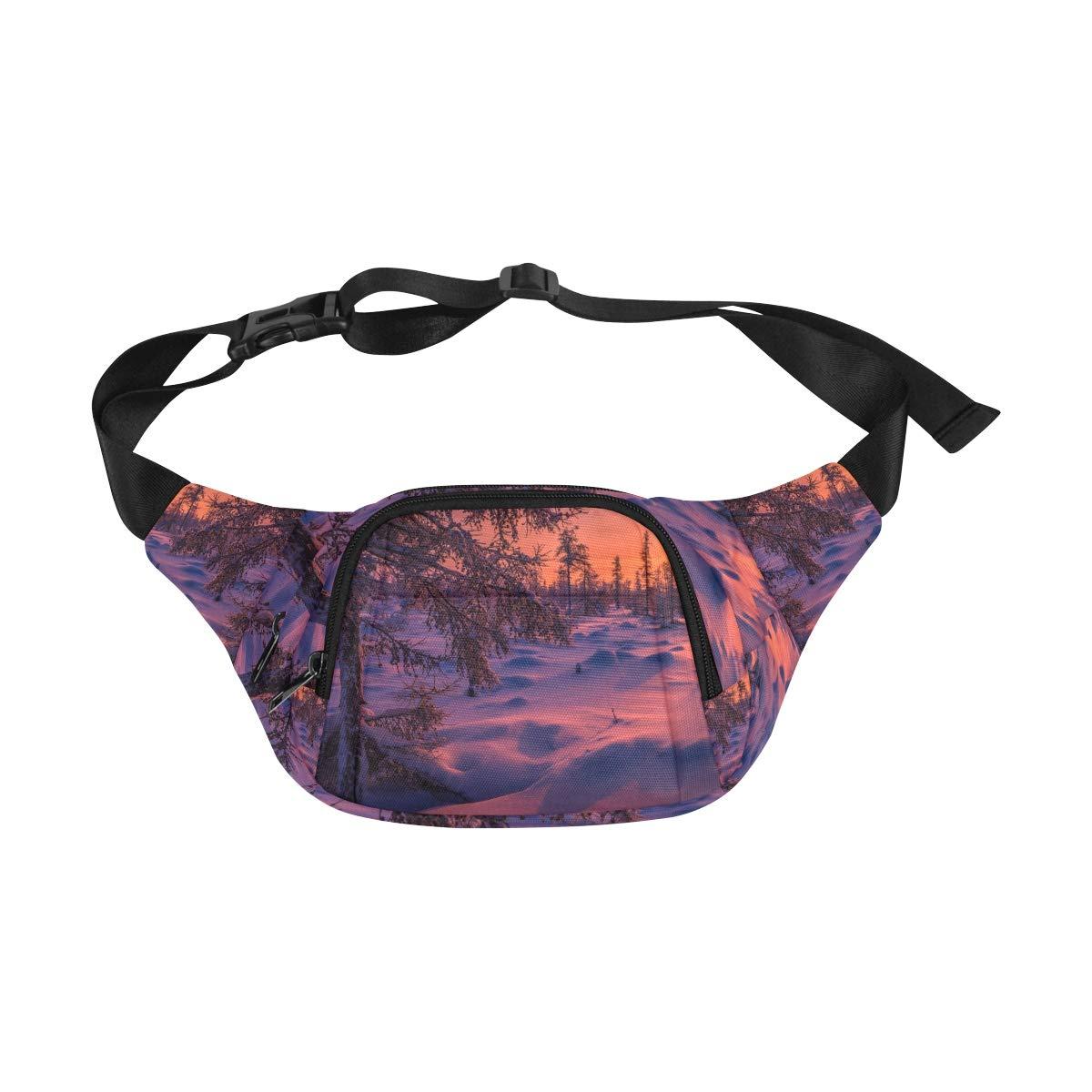 Winter Landscape With Forest Fenny Packs Waist Bags Adjustable Belt Waterproof Nylon Travel Running Sport Vacation Party For Men Women Boys Girls Kids