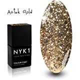 NYK1 Professional Nail Polish Gel Colour AZTEC GOLD - UV and LED Drying Curing Polishes, Quick Soak Off Extra Fill 10ml. Over 100 Nailac Colours to Choose from.