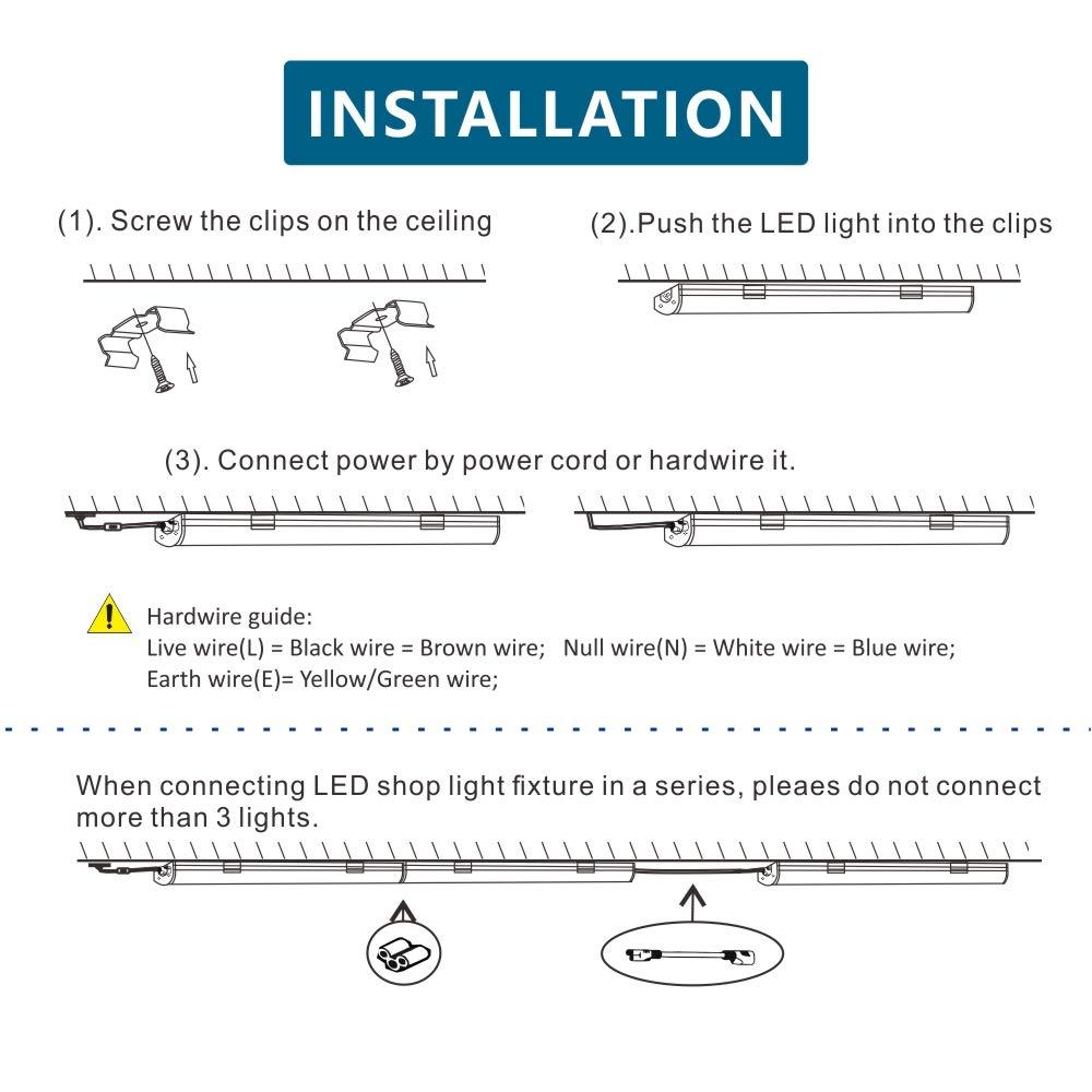 (pack of 2) barrina 4ft 45 watt extendable utility led shop light workbench light 6500k super bright white 4500lm 300w equivalent built in on off 12V LED Wiring Diagram
