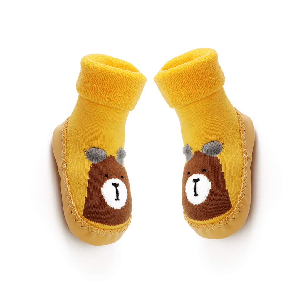 YaptheS 14 cm baby anti-slip socks boots breathable cotton shoes cartoon slippers socks children, toddlers, new born yellow
