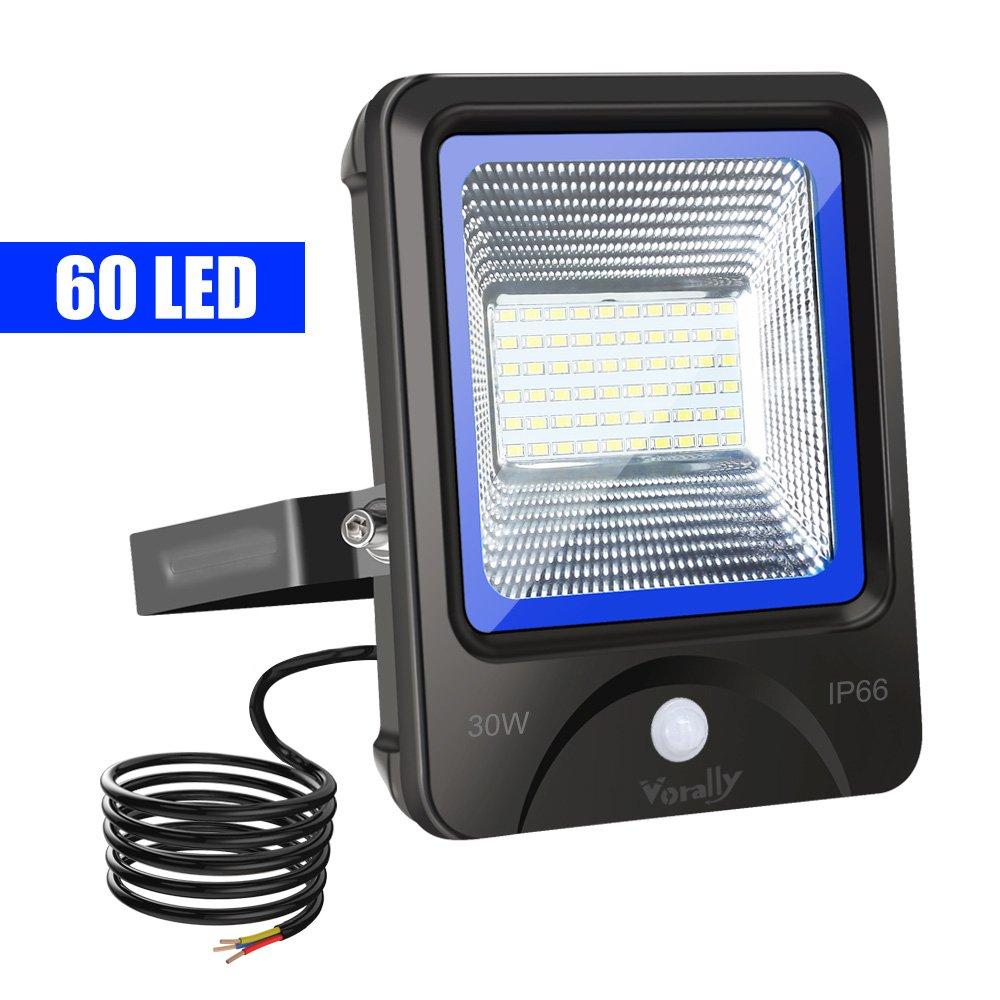Vorally 30W LED Strahler mit Bewegungsmelder Kaltweiß - IP66 Wasserdicht LED Flutlicht - 3000LM- 6500K AC 85-265V [Energieklasse A++]