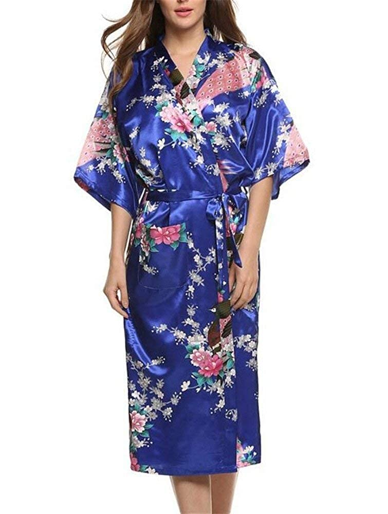 Dames Robe Robe Kimono Robe Peignoir Nuit Chaud Ch/âle Satin Style Long Imprim/é Floral Basic Pyjama Chemise De Nuit Vetement
