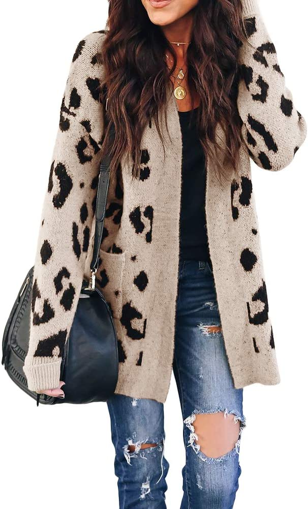 Cardigan Sweater for Women,Womens Soft Knit Sweater Outwear Open Front Kimono Cardigans Sweater with Pockets