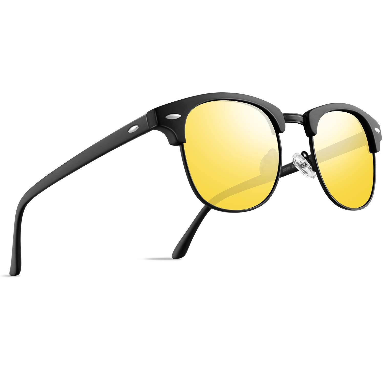 FEIDU Retro Polarized Mens Sunglasses for Men Half Metal Women FD3030 (B-yellow, 2.04) by FEIDU