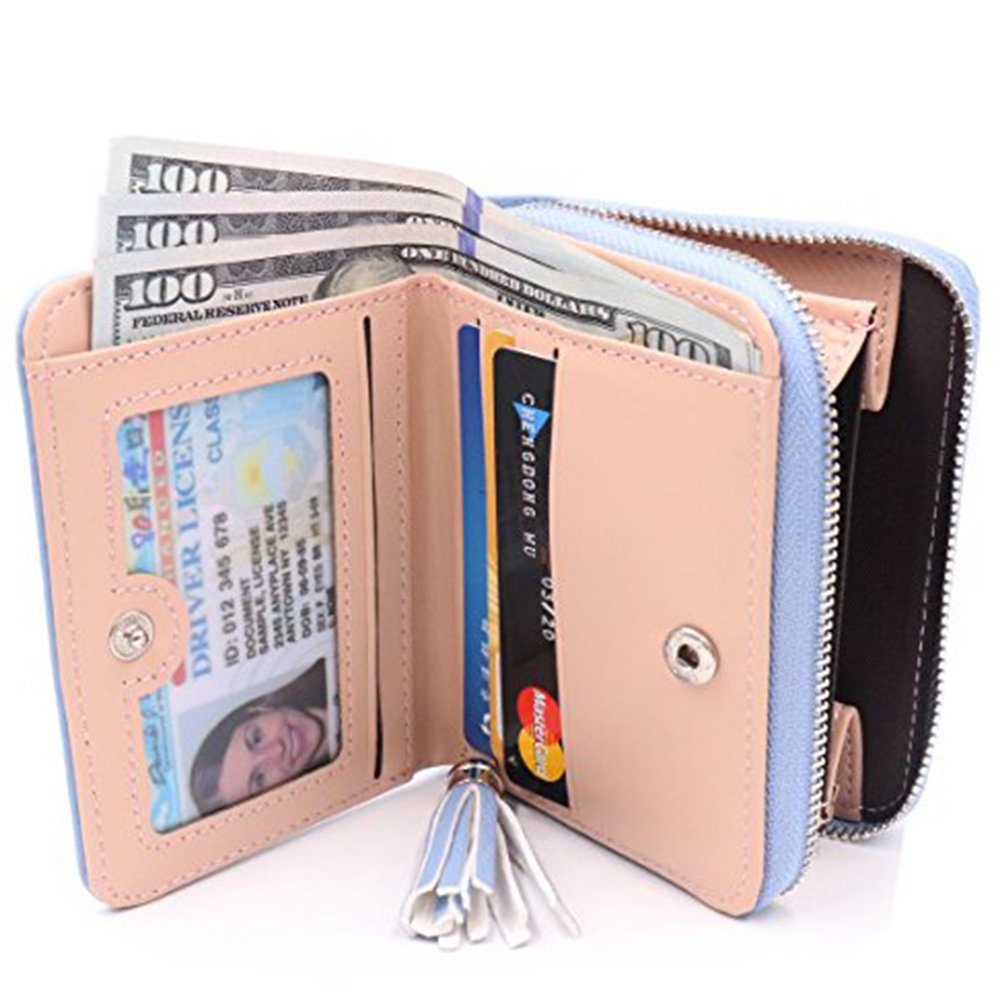Women's RFID Blocking PU Leather Wallet Card Holder Organizer Girls Small Cute Coin Purse with ID Window by Calsoling (Image #2)
