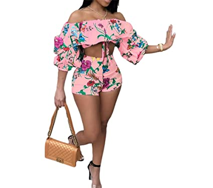 2f6093690 HAOAN Women 2 Piece Off Shoulder Outfits Floral Print Ruffle Sleeve Crop  Tops Short Pants Jumpsuit