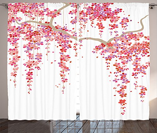 Ambesonne House Decor Collection, Cherry Blossom Trees Branch Springtime Happy Vacation Traveling Destinations Image, Living Room Bedroom Curtain 2 Panels Set, 108 X 84 Inches, Lilac Salmon Coral (Them With Curtains On Cherries Kitchen)